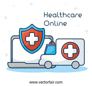 healthcare on line technology with laptop