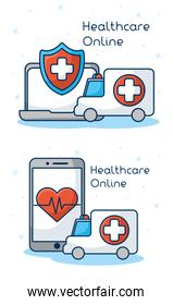 healthcare on line technology with set icons