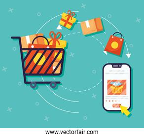shopping on line technology with smartphone