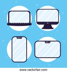 set of electronics devices icons