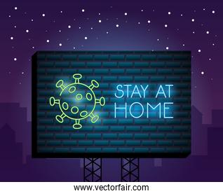 covid19 particle with stay at home neon light label