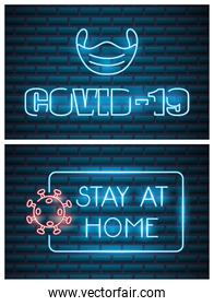 two covid19 neon lights icons