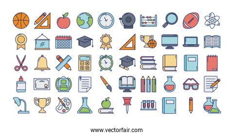 set of icons teachers day, line and fill style icon