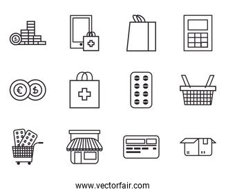 Shopping online and medical care line style icon set vector design