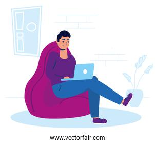 man using laptop in sofa stay at home campaign