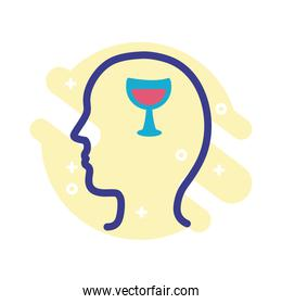 profile with wine cup mental health line style icon