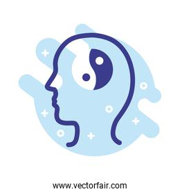 profile with Yin Yang symbol mental health line style icon