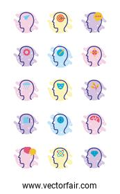 bundle of profiles mental health line style icon