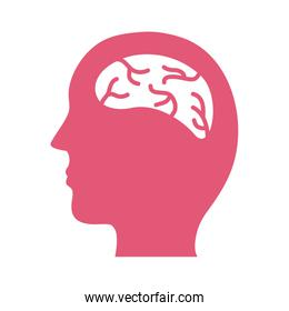profile with brain mental health silhouette style icon