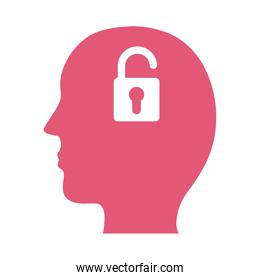 profile with padlock mental health silhouette style icon