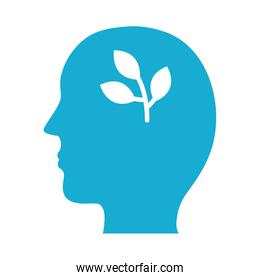profile with leafs plant mental health silhouette style icon