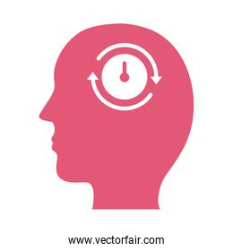 profile with time clock mental health silhouette style icon