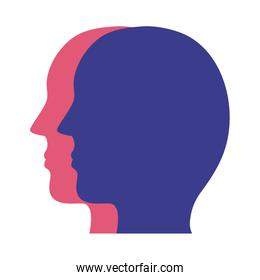 profiles heads mental health silhouette style icon