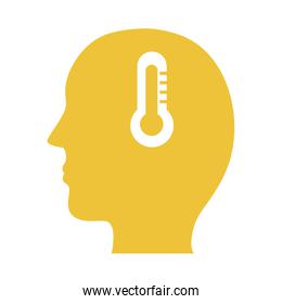 profile with thermometer mental health silhouette style icon