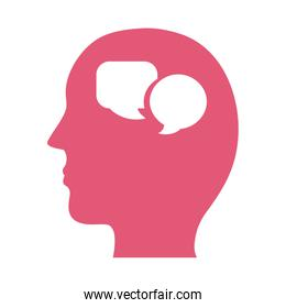 profile with speech bubbles mental health silhouette style icon
