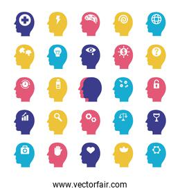 bundle of profiles mental health silhouette style icon
