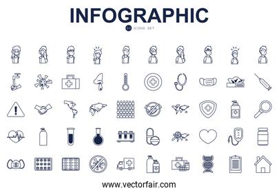 Covid 19 virus line style icon set vector design