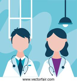 doctor staff couple with speech bubble