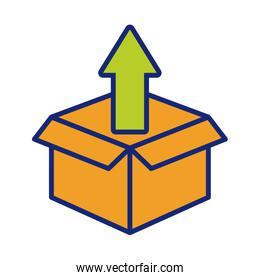 arrow up with box carton packing postal service line and fill style
