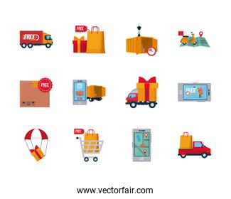 free and fast delivery icon set, flat style