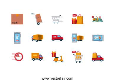 technology devices and free delivery icon set, colorful design