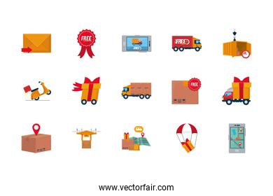 fast delivery concept of icon set, flat style