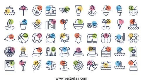 bundle of beach set block line  icons