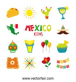 bundle of mexican culture set icons