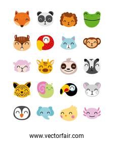 bundle of cute animals characters