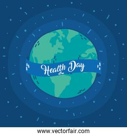 health day celebration poster with earth planet