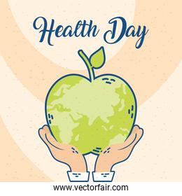 health day celebration cartel with apple