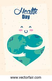 health day celebration poster with heart planet