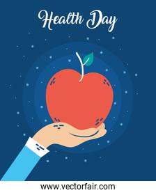 health day celebration poster with apple