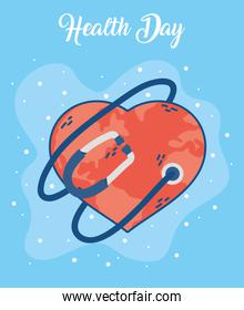 health day celebration poster with heart and stethoscope