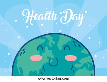 health day celebration poster with earth character