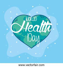 health day celebration poster with heart earth planet