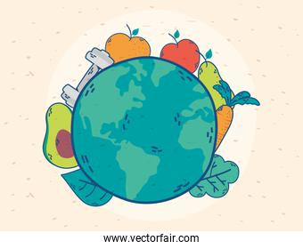 health day celebration poster with earth and vegetables