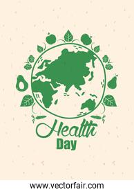 health day celebration poster with earth