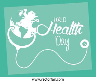 health day celebration poster with earth and stethoscope