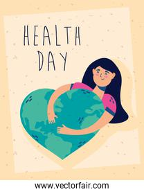 health day celebration poster with woman and heart earth planet