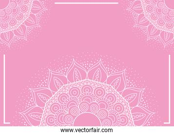half mandalas with pink color background