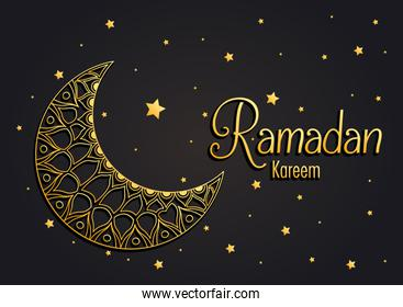 Ramadan kareem card with lettering and golden moon