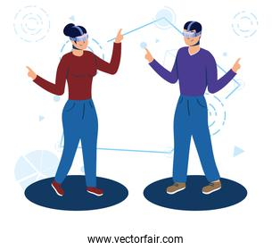 couple using augmented reality technology