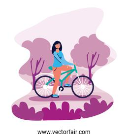 woman in bicycle activity character
