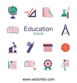 bundle of schoolflat   style set icons