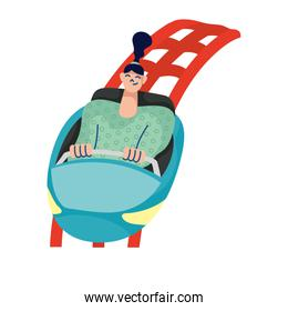 woman in fair roller coaster cart hand draw style