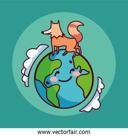 card of planet earth smiling and fox