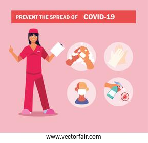 woman doctor explain Infographics how prevent the spread of covid 19