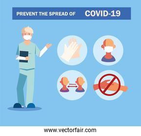 doctor explain Infographics how prevent the spread of covid 19
