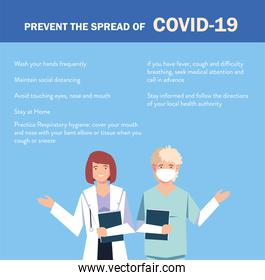 doctors explain Infographics how prevent the spread of covid 19